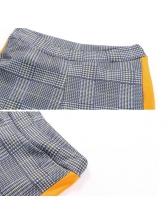 Euro Hot Sale Colorblock Plaid Casual Trousers