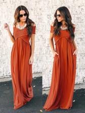 Fashion V Neck Off Shoulder Solid Maxi Dress