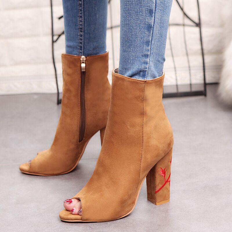 Euro Peep-toe Embroidery Chunky Heel Boots