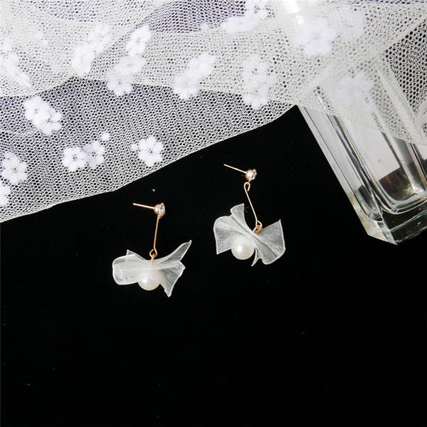 Korean Pearl Bow Patchwork Fashion Eardrop