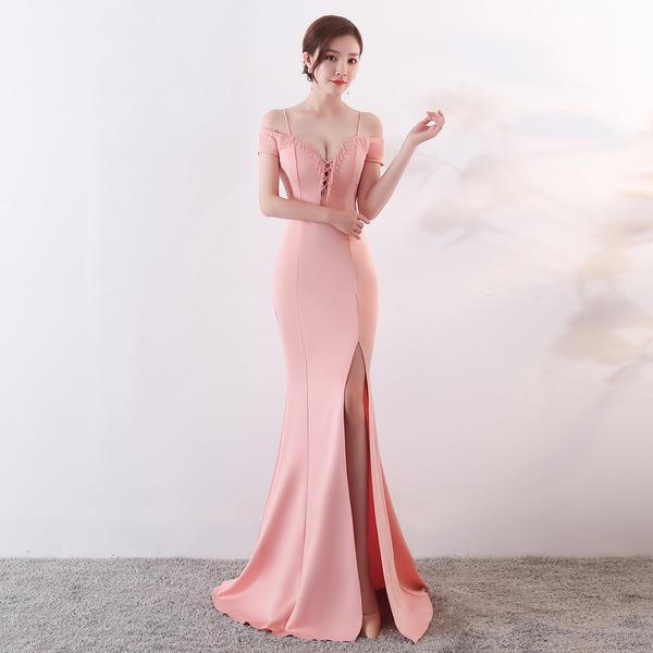 Boutique Solid Off Shoulder Slit Fitted Fishtail Dress
