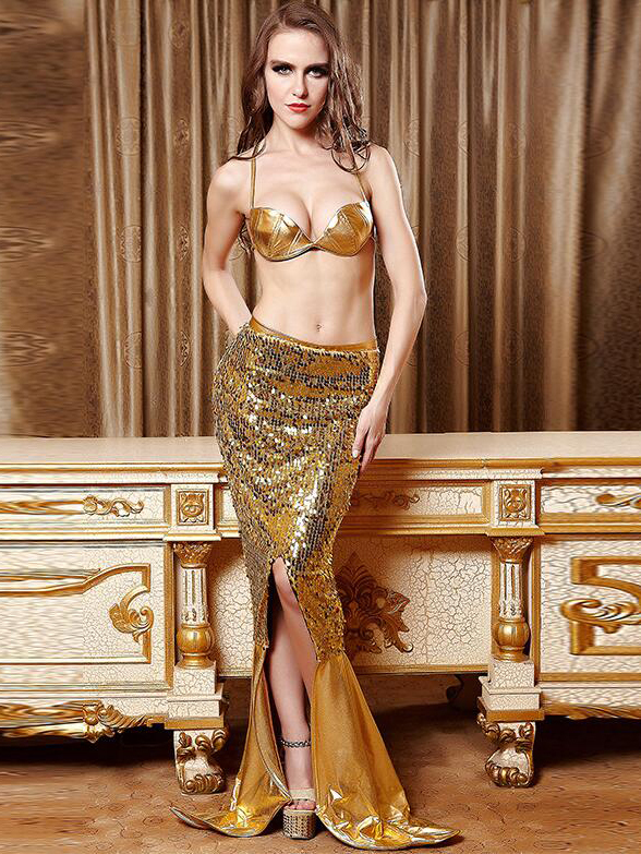 Halloween Backless Mermaid Role Playing Sequins Sexy Sets