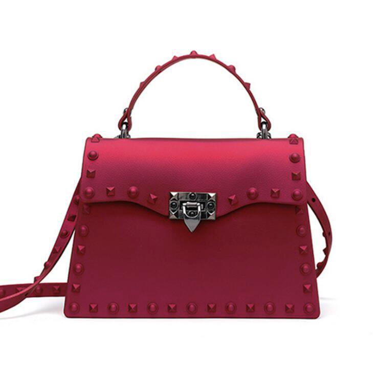 Fashion Rivet PVC Hasp Shoulder Bags
