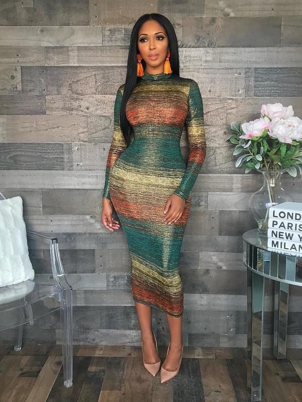 Fashion Striped Gradient Long Sleeves Dress
