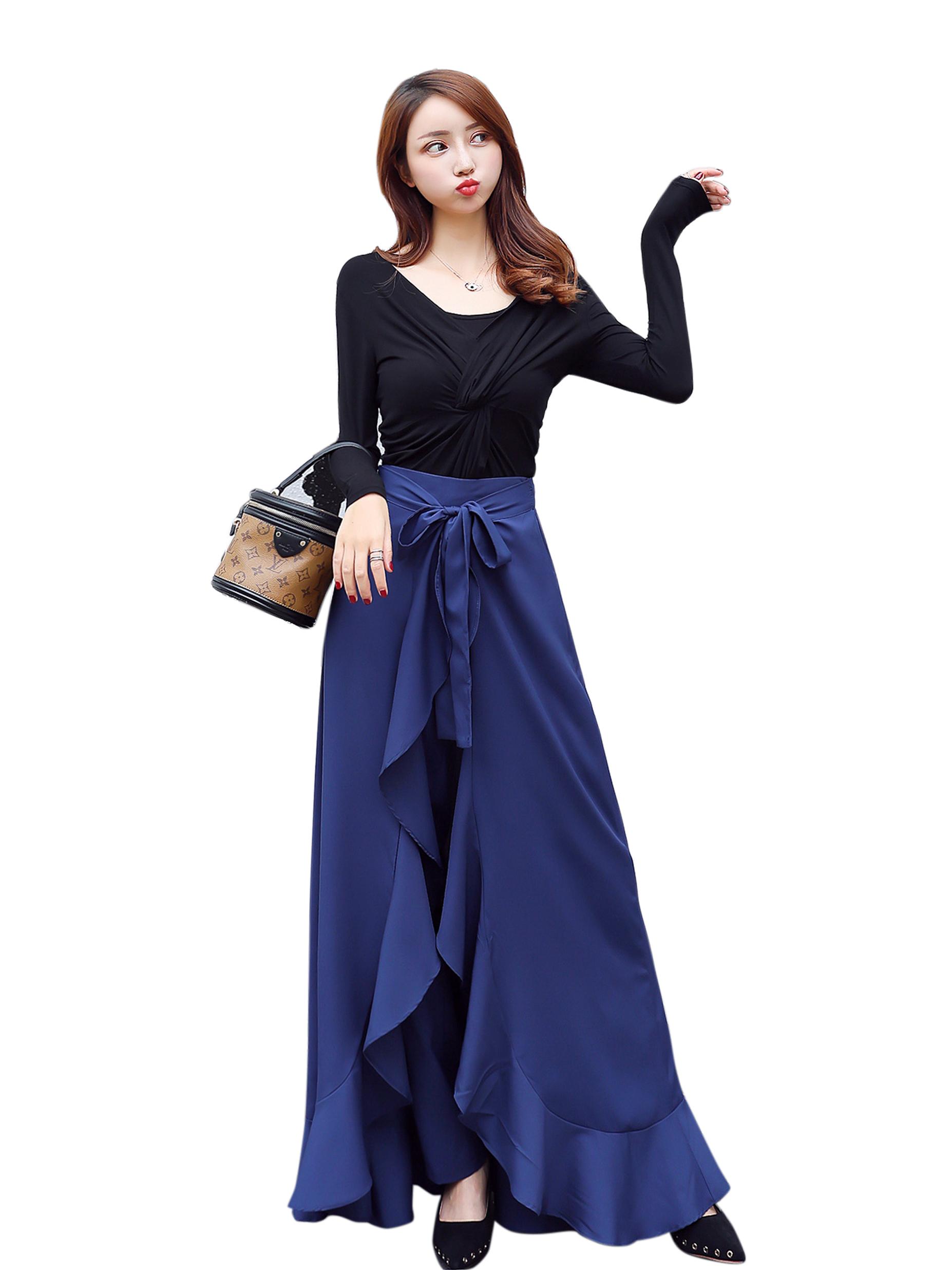 Stylish Pure Colors Asymmetrical Hem Maxi Skirts Pants