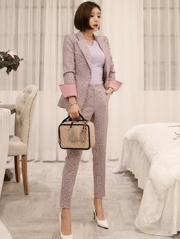 Chic Plaid Colorblock Women Business Suits