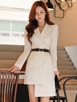 Korean OL Style Lapel Fitted Asymmetrical Dresses
