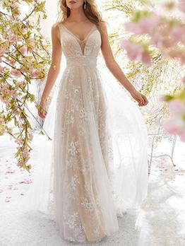 Sexy Lace V Neck Backless Wedding Dresses