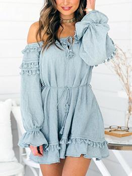 Stylish Off Shoulder Tassels Flare Sleeve Dresses