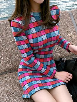 Fashion Multicolored Jacquard Weave Knitting Dresses