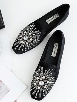 Stylish Beaded Square Toe Women Flats