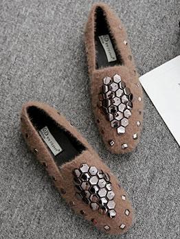 Fashionable Rivet Slip On Flats Shoes For Women