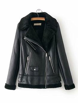 Winter Zipper Up Solid Warm Jacket For Women