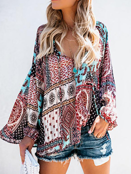 Fashion Printing Long Sleeves V Neck Chiffon Blouse