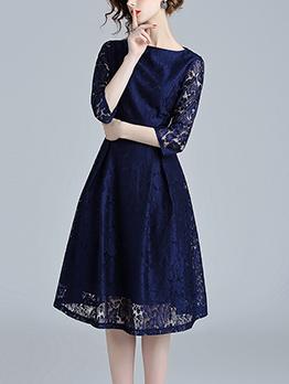 Simple Design Lace Blue Dresses For Women
