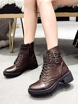 Autumn Round Toe Chunky Martin Boots