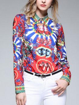 Chic Turndown Collar Printing Long Sleeves Blouse
