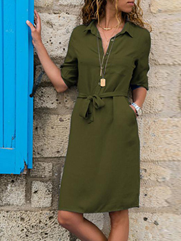 Single-Breasted Solid Tie-Wrap Short Sleeve Dresses