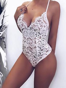 Euro Straps Backless V-Neck Sexy Bodysuit