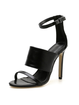 Fashion Black Thin Heel One-buckle Belt Sandals