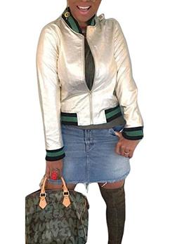 Hot Sale Contrasting Color Satin Women Jacket