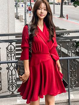 Korean Binding Bow Lapel Smart Waist Dresses