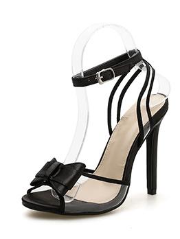 Euro Thin Heel Bow Peep-Toe Sexy Sandals
