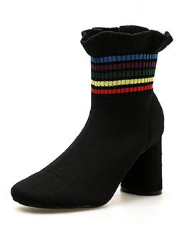 Fashionable Ruffles Chunky Pointed Toe Sock Boots