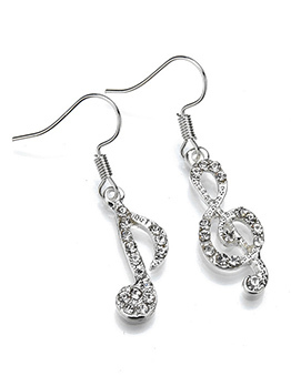 Chic Rhinestone Musical Note Design Asymmetrical Earrings