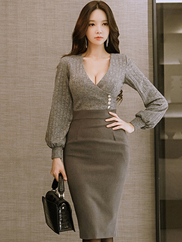 Korean Low-cut Lantern Sleeve Fitted Dress