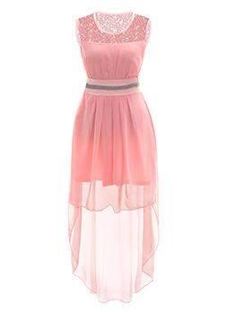 Elegant Lace Patchwork Binding Bow Asymmetrical Dresses