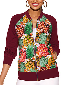 Hot Sale Stand Neck Pineapple Printed Women Jacket