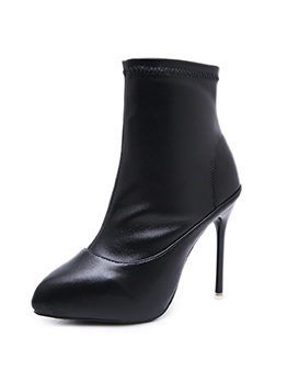 Winter Pointed Thin Heel Black Ankle Boots