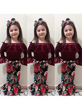 Fashion Off Shoulder Floral Flare 3 Piece Girl Sets