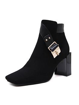 Simple Design Square Toe Black Ankle Boots