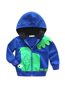 Fashion Hooded Collar Dinosaur Printed Coat For Kids