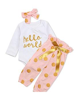 Hot Sale Letter Polka Dots 3 Piece Sets For Girls