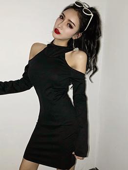 Korean Backless Hooded Collar Fitted Black Dress