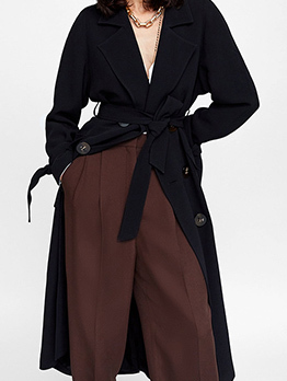 Spanish Double-Breasted Lapel Tie-Wrap Long Coat