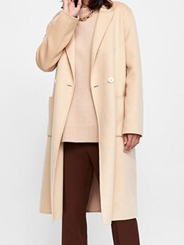 Boutique Single-Breasted Beige Woolen Long Coat