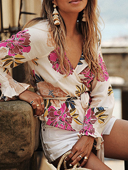 Sexy V Neck Floral Loose Tie-Wrap Blouses