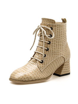 Winter Alligator Print Lace Up Solid Ankle Boots