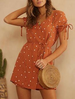 Dot V Neck Tie-wrap Short Sleeve Dresses