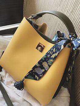 Minimalist Silk Scarf Bow Colorblock Handbags
