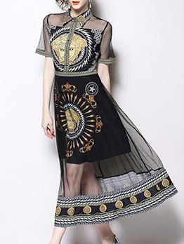 Fashion Gauze Patchwork Printed Turndown Collar Vintage Dress