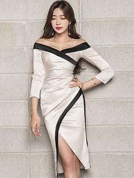 Autumn Off Shoulder Color Contrasting Slit Dresses