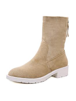 British Style Zipper Round Toe Chunky Heel Boots