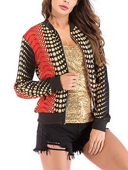 Fashion Stand Neck Colorblock Baseball Jacket