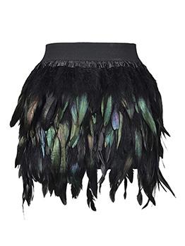 Sexy Feather Irregular Mini Skirt For Women