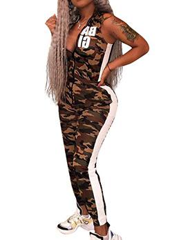 Euro V Neck Sleeveless Camouflage Sporty Jumpsuit